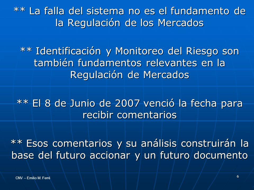 CNV – Emilio M. Ferré 6 ** La falla del sistema no es el fundamento de la Regulación de los Mercados ** Identificación y Monitoreo del Riesgo son tamb