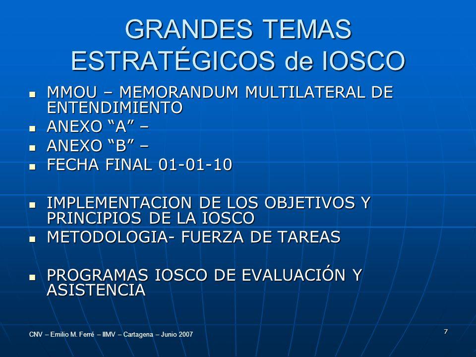 CNV – Emilio M. Ferré – IIMV – Cartagena – Junio 2007 7 GRANDES TEMAS ESTRATÉGICOS de IOSCO MMOU – MEMORANDUM MULTILATERAL DE ENTENDIMIENTO MMOU – MEM