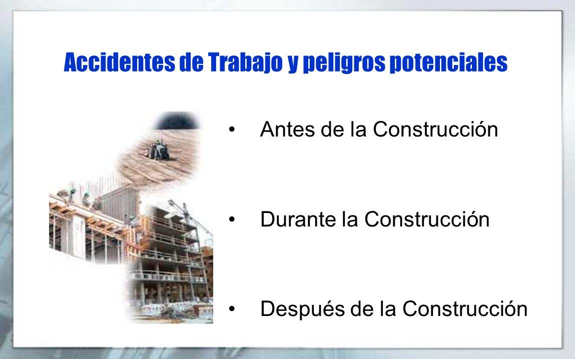Accidentes de Trabajo y peligros potenciales Antes de la Construcción Durante la Construcción Después de la Construcción