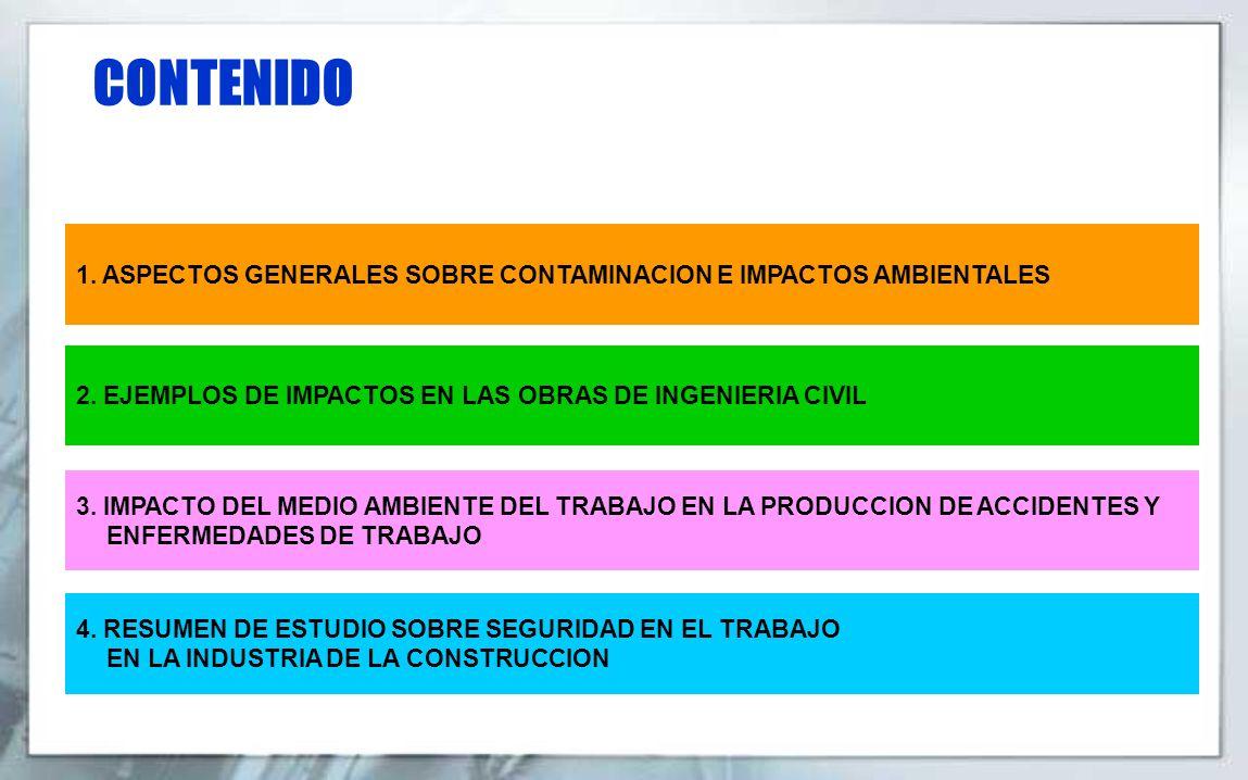 CONTENIDO 1. ASPECTOS GENERALES SOBRE CONTAMINACION E IMPACTOS AMBIENTALES 2. EJEMPLOS DE IMPACTOS EN LAS OBRAS DE INGENIERIA CIVIL 3. IMPACTO DEL MED