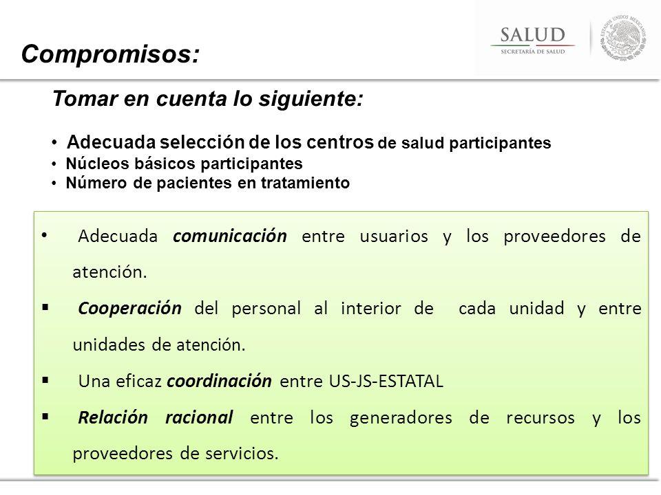Compromisos: Tomar en cuenta lo siguiente: Adecuada selección de los centros de salud participantes Núcleos básicos participantes Número de pacientes