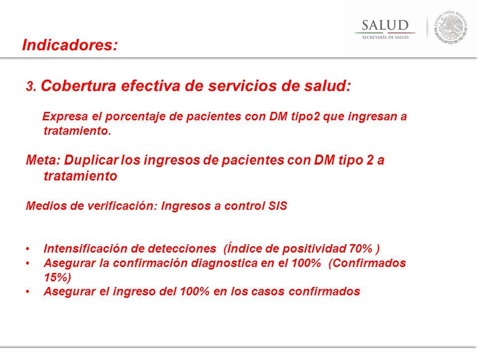 3. Cobertura efectiva de servicios de salud: Expresa el porcentaje de pacientes con DM tipo2 que ingresan a tratamiento. Meta: Duplicar los ingresos d