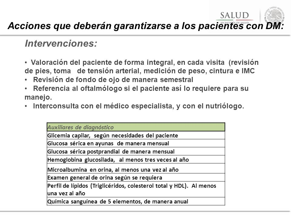 Intervenciones: Valoración del paciente de forma integral, en cada visita (revisión de pies, toma de tensión arterial, medición de peso, cintura e IMC