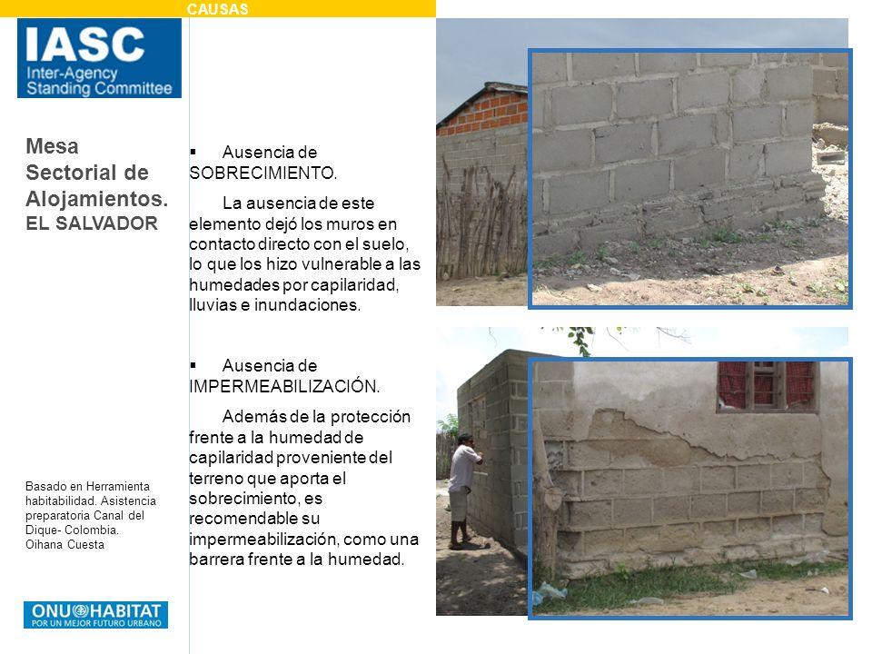 Mesa Sectorial de Alojamientos. EL SALVADOR Basado en Herramienta habitabilidad. Asistencia preparatoria Canal del Dique- Colombia. Oihana Cuesta Ause