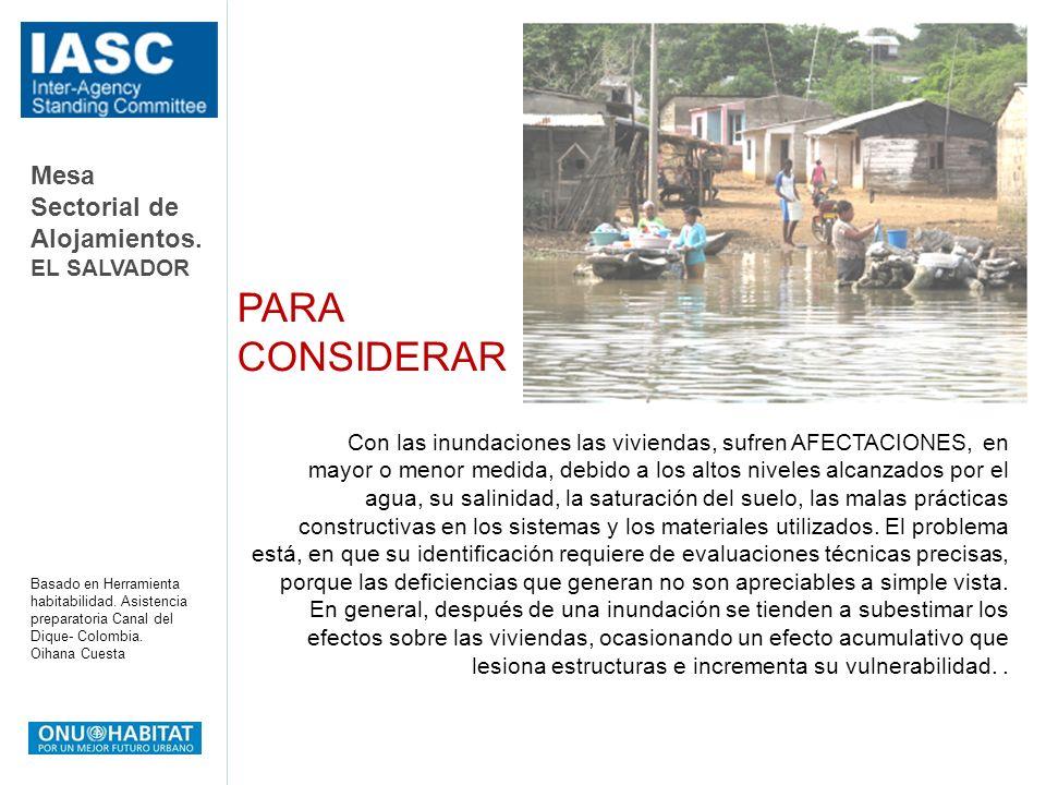 Mesa Sectorial de Alojamientos. EL SALVADOR Basado en Herramienta habitabilidad. Asistencia preparatoria Canal del Dique- Colombia. Oihana Cuesta Con