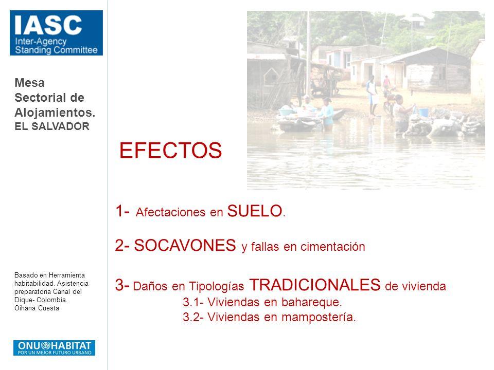 Mesa Sectorial de Alojamientos. EL SALVADOR Basado en Herramienta habitabilidad. Asistencia preparatoria Canal del Dique- Colombia. Oihana Cuesta 1- A
