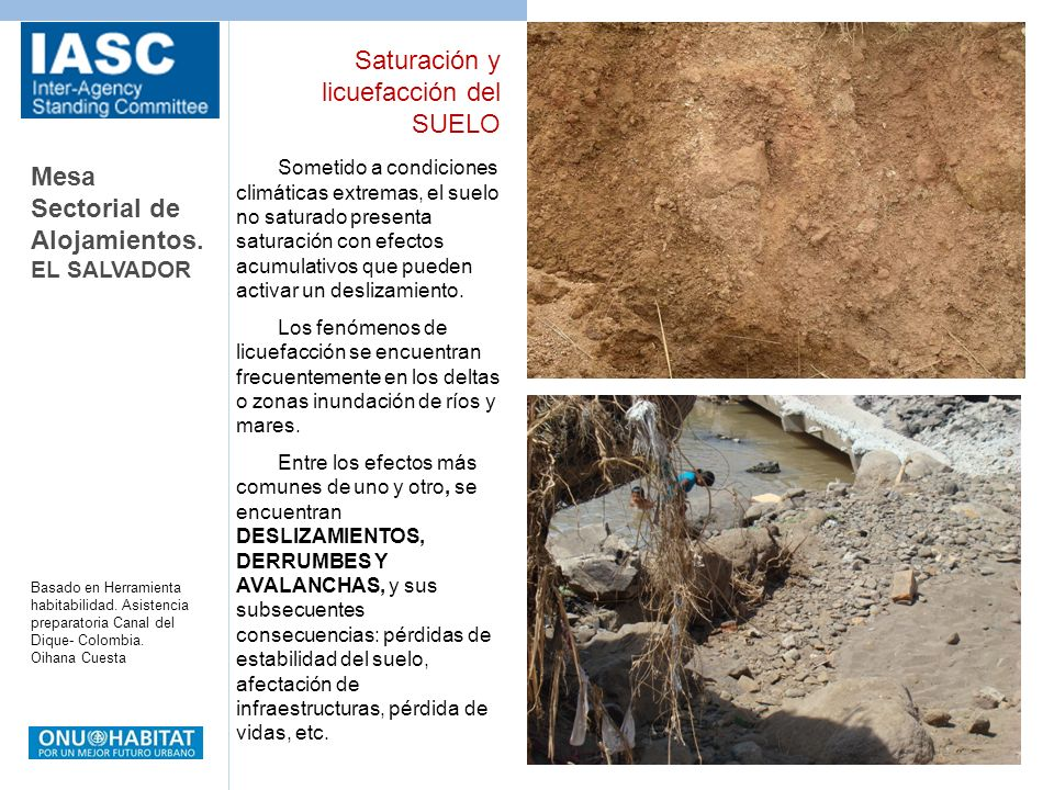Mesa Sectorial de Alojamientos. EL SALVADOR Basado en Herramienta habitabilidad. Asistencia preparatoria Canal del Dique- Colombia. Oihana Cuesta Some