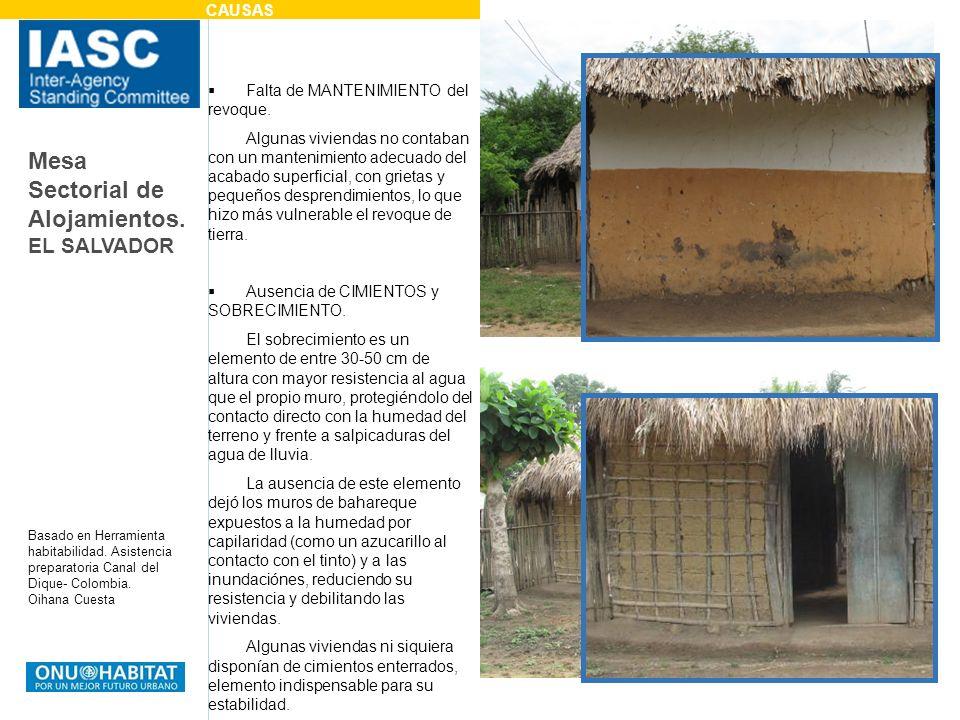 Mesa Sectorial de Alojamientos. EL SALVADOR Basado en Herramienta habitabilidad. Asistencia preparatoria Canal del Dique- Colombia. Oihana Cuesta Falt