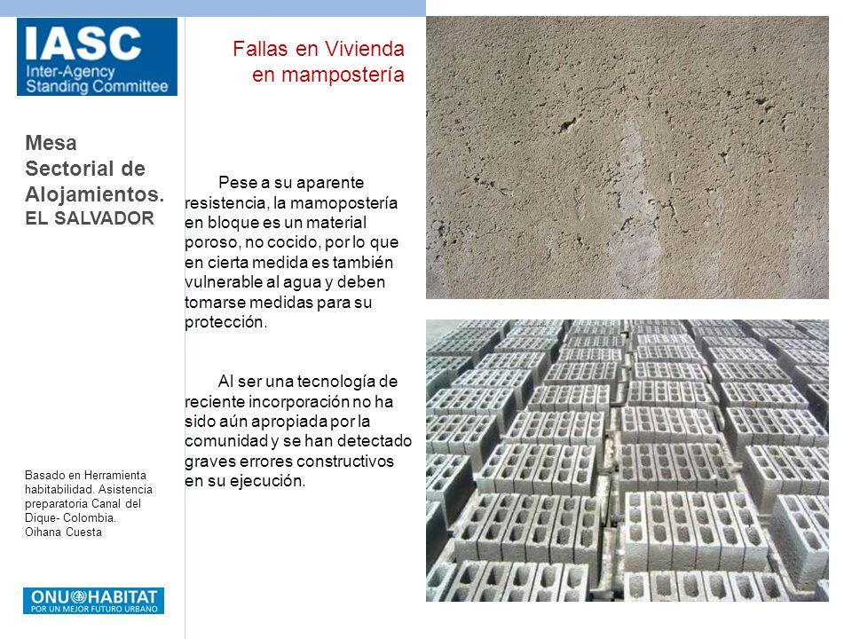 Mesa Sectorial de Alojamientos. EL SALVADOR Basado en Herramienta habitabilidad. Asistencia preparatoria Canal del Dique- Colombia. Oihana Cuesta Pese