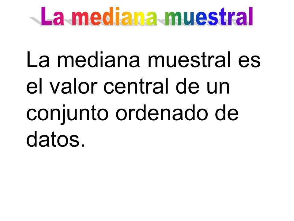 La mediana muestral es el valor central de un conjunto ordenado de datos.