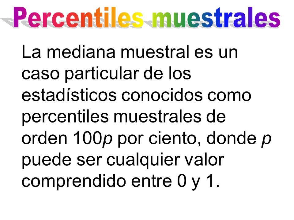 La mediana muestral es un caso particular de los estadísticos conocidos como percentiles muestrales de orden 100p por ciento, donde p puede ser cualqu