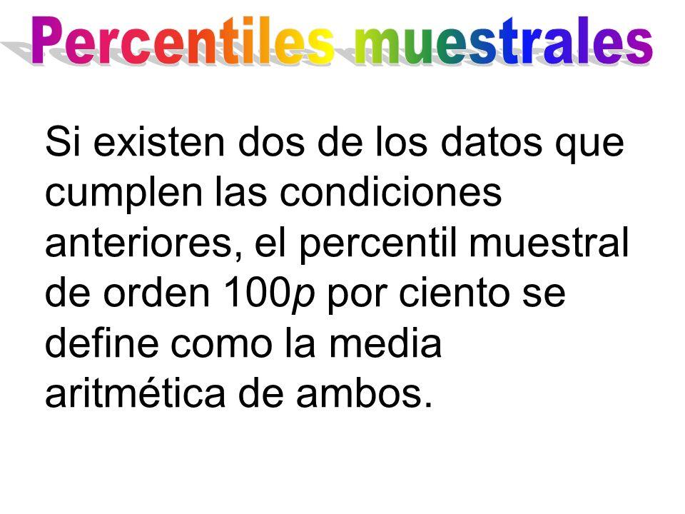 Si existen dos de los datos que cumplen las condiciones anteriores, el percentil muestral de orden 100p por ciento se define como la media aritmética