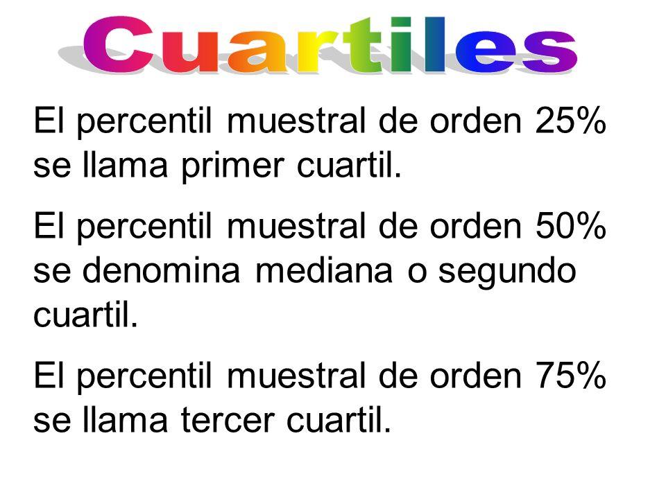 El percentil muestral de orden 25% se llama primer cuartil. El percentil muestral de orden 50% se denomina mediana o segundo cuartil. El percentil mue