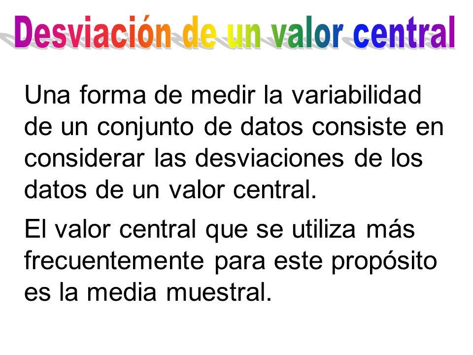 Una forma de medir la variabilidad de un conjunto de datos consiste en considerar las desviaciones de los datos de un valor central. El valor central