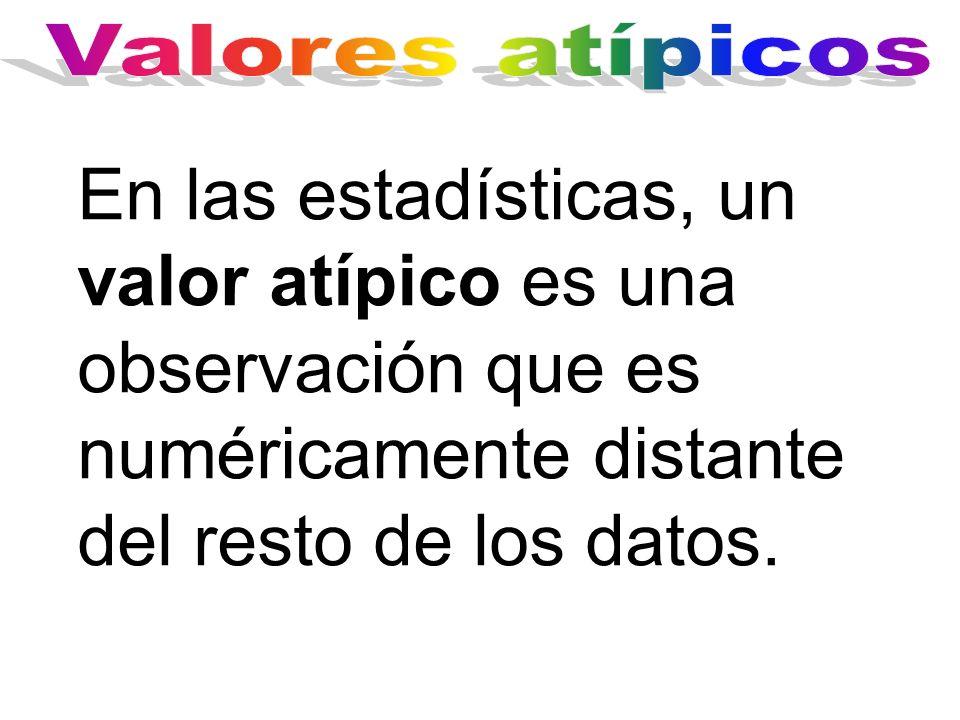 En las estadísticas, un valor atípico es una observación que es numéricamente distante del resto de los datos.