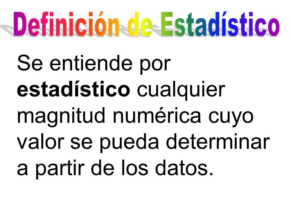 Se entiende por estadístico cualquier magnitud numérica cuyo valor se pueda determinar a partir de los datos.