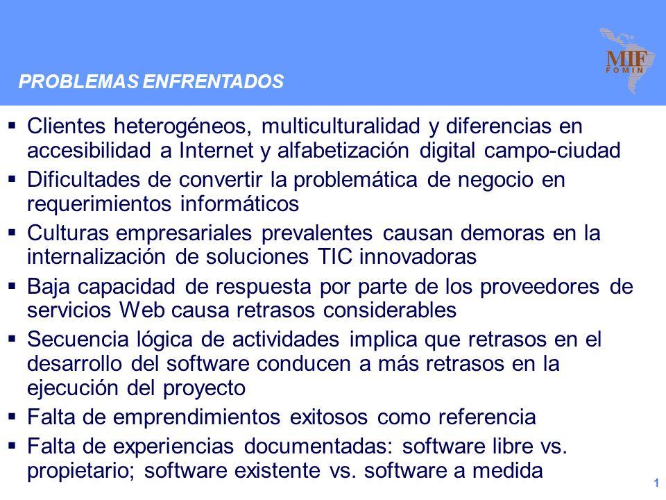 Fondo Multilateral de Inversiones Reunión de Clúster TIC 2009 Tema: Desarrollo de Software Integrantes: AFINET/ADINET – Centro de Farmacias del Uruguay (URU), Osvaldo Cestau AGEXPORT – Asociación Guatemalteca de Exportadores (GUA), Fernando Herrera CANIETI – Cámara Nac.