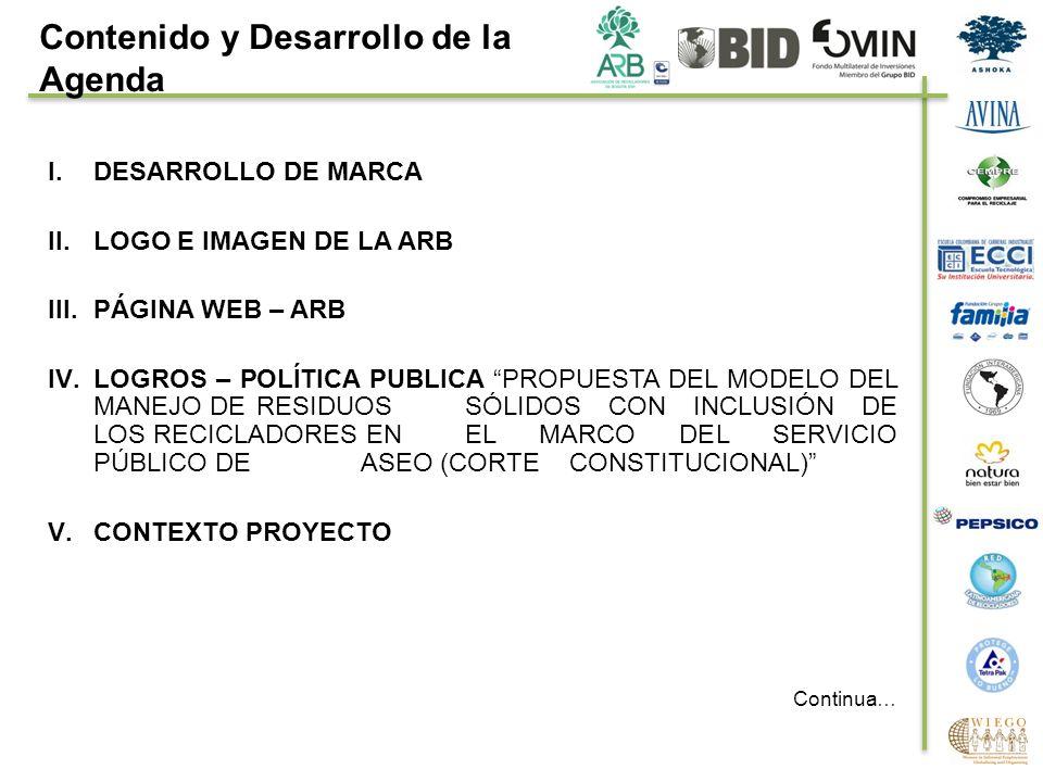 I.DESARROLLO DE MARCA II.LOGO E IMAGEN DE LA ARB III.PÁGINA WEB – ARB IV.LOGROS – POLÍTICA PUBLICA PROPUESTA DEL MODELO DEL MANEJO DE RESIDUOS SÓLIDOS