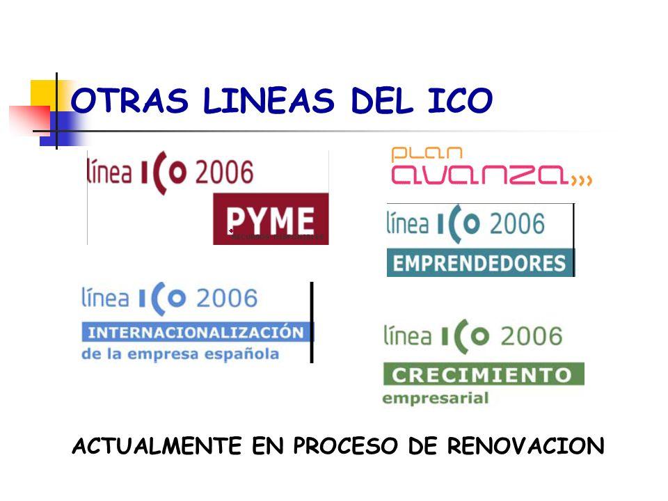 OTRAS LINEAS DEL ICO ACTUALMENTE EN PROCESO DE RENOVACION RECURSOS DISPONIBLES