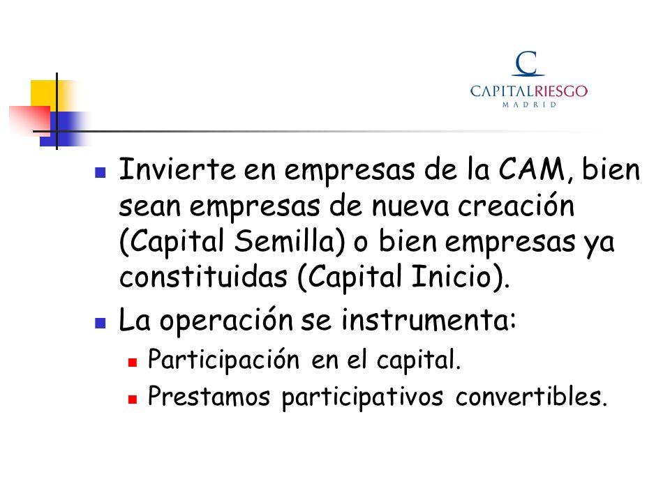 Invierte en empresas de la CAM, bien sean empresas de nueva creación (Capital Semilla) o bien empresas ya constituidas (Capital Inicio). La operación