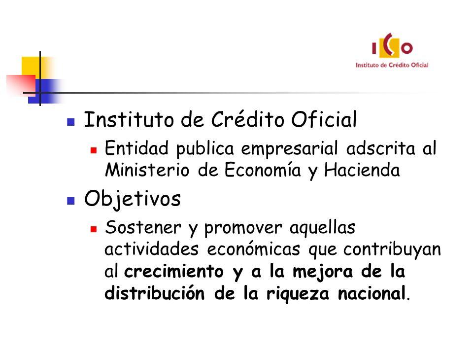 Instituto de Crédito Oficial Entidad publica empresarial adscrita al Ministerio de Economía y Hacienda Objetivos Sostener y promover aquellas activida