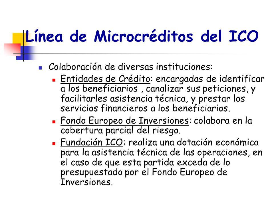 Línea de Microcréditos del ICO Colaboración de diversas instituciones: Entidades de Crédito: encargadas de identificar a los beneficiarios, canalizar