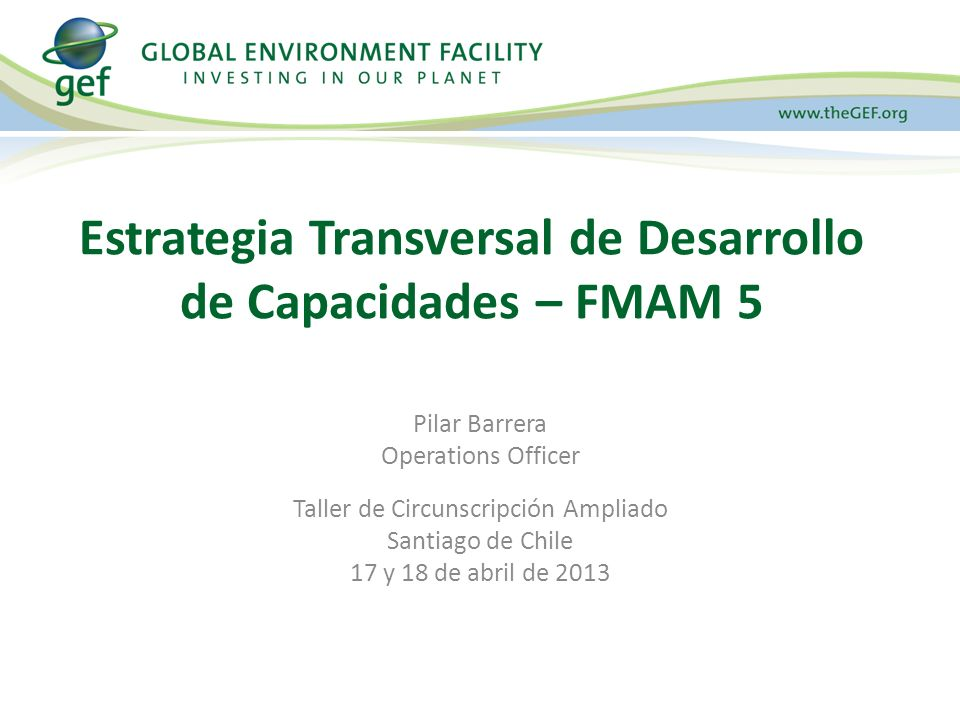 Pilar Barrera Operations Officer Taller de Circunscripción Ampliado Santiago de Chile 17 y 18 de abril de 2013 Estrategia Transversal de Desarrollo de Capacidades – FMAM 5