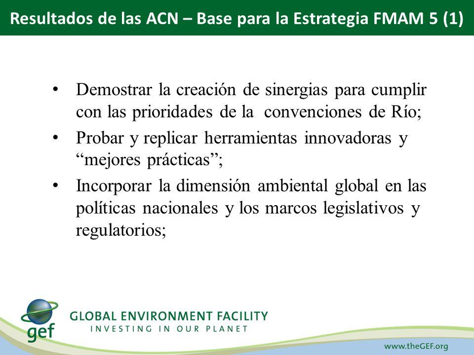 Demostrar la creación de sinergias para cumplir con las prioridades de la convenciones de Río; Probar y replicar herramientas innovadoras y mejores prácticas; Incorporar la dimensión ambiental global en las políticas nacionales y los marcos legislativos y regulatorios; Resultados de las ACN – Base para la Estrategia FMAM 5 (1)