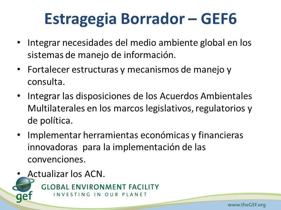 Estragegia Borrador – GEF6 Integrar necesidades del medio ambiente global en los sistemas de manejo de información. Fortalecer estructuras y mecanismo