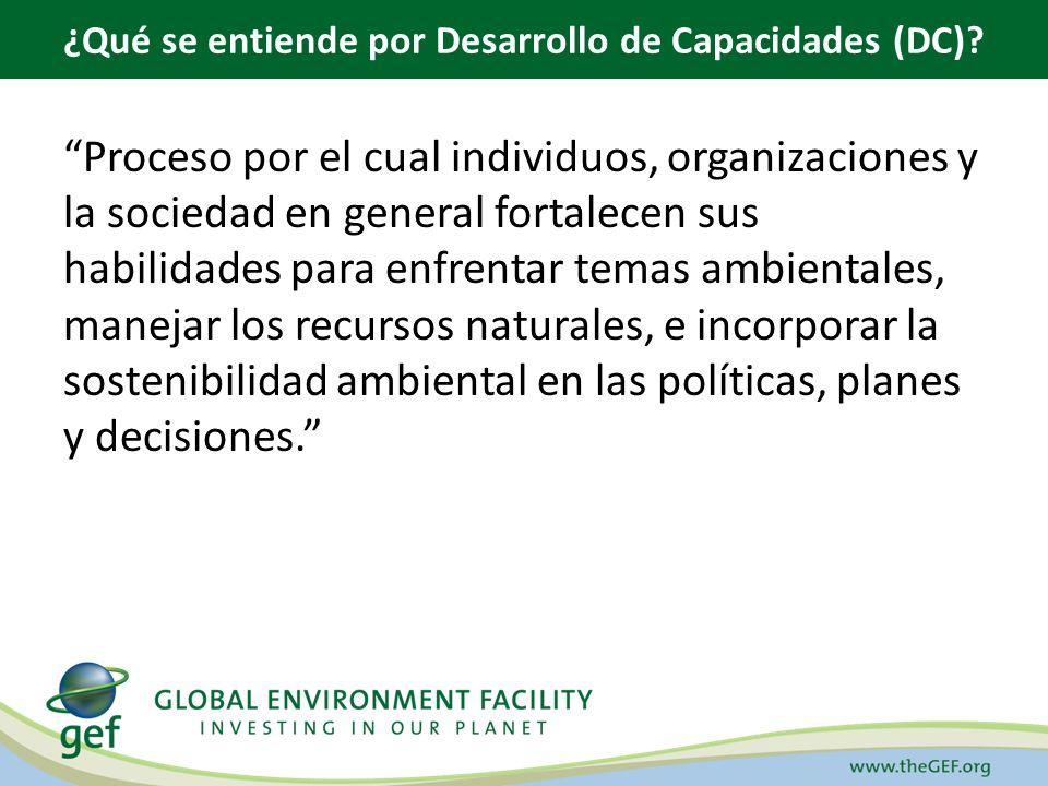 Proceso por el cual individuos, organizaciones y la sociedad en general fortalecen sus habilidades para enfrentar temas ambientales, manejar los recursos naturales, e incorporar la sostenibilidad ambiental en las políticas, planes y decisiones.