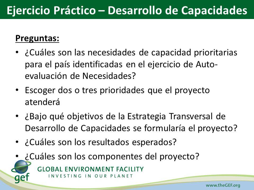 Preguntas: ¿Cuáles son las necesidades de capacidad prioritarias para el país identificadas en el ejercicio de Auto- evaluación de Necesidades.