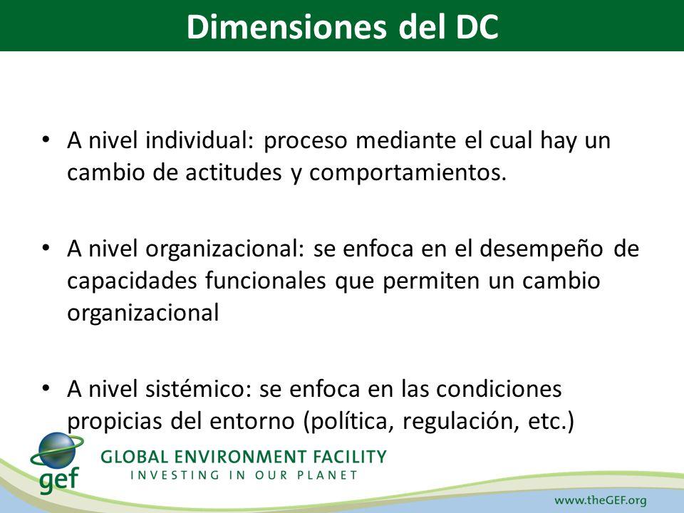 GEF STRATEGIC APPROACH TO CAPACITY BUILDING Cuatro Caminos para el desarrollo de capacidades en los países para implementar las convenciones de Río (Decisión Consejo/22.8) Desarrollo de Capacidades (DC) a través de: 1.