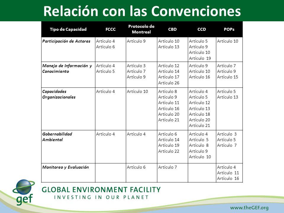 Tipo de CapacidadFCCC Protocolo de Montreal CBDCCDPOPs Participación de ActoresArtículo 4 Artículo 6 Artículo 9Artículo 10 Artículo 13 Artículo 5 Artí