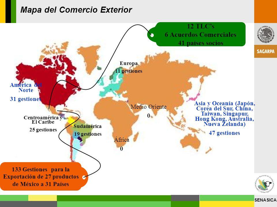 SENASICA América del Norte 31 gestiones Centroamérica y El Caribe 25 gestiones Sudamérica 19 gestiones África 0 Asia y Oceanía (Japón, Corea del Sur,