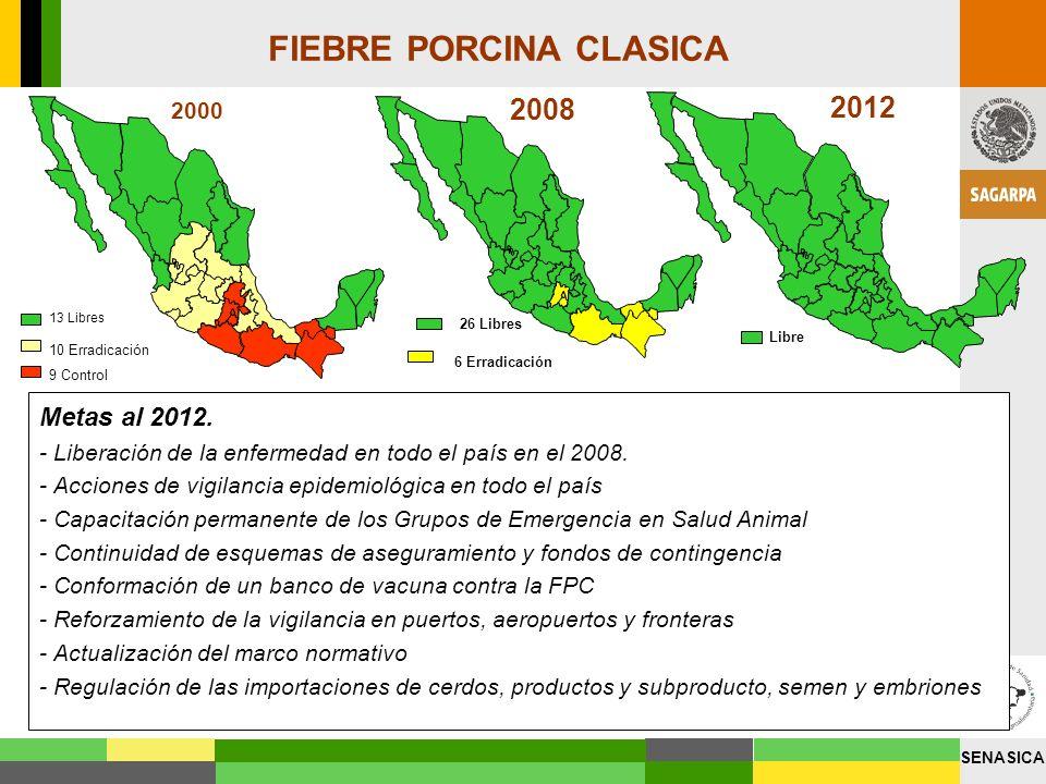 SENASICA Metas al 2012. - Liberación de la enfermedad en todo el país en el 2008. - Acciones de vigilancia epidemiológica en todo el país - Capacitaci