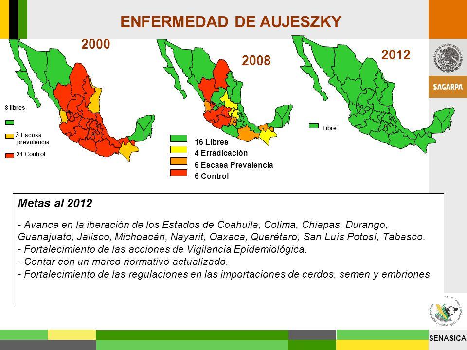 SENASICA Metas al 2012 - Avance en la iberación de los Estados de Coahuila, Colima, Chiapas, Durango, Guanajuato, Jalisco, Michoacán, Nayarit, Oaxaca,