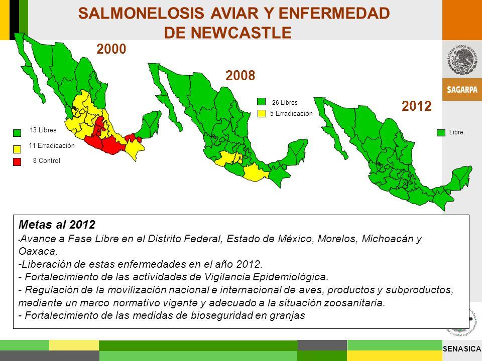 SENASICA INFLUENZA AVIAR 2012 2008 ( Subtipo H5N2 de baja patogenicidad) Metas al 2012 - Liberación de los Estados de Coahuila, Durango, Zacatecas, San Luis Potosí, Aguascalientes, Guanajuato, Querétaro, Hidalgo Jalisco, Michoacán, Guerrero, Oaxaca.