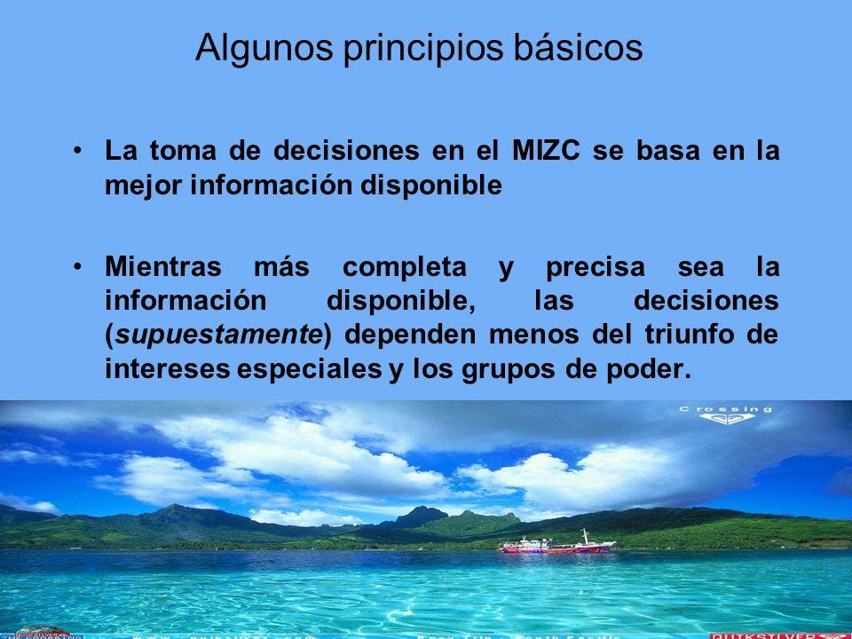 Algunos principios básicos La toma de decisiones en el MIZC se basa en la mejor información disponible Mientras más completa y precisa sea la informac