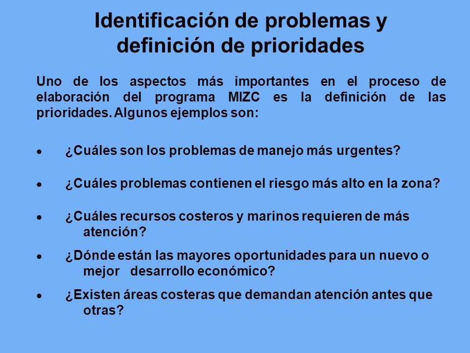 Identificación de problemas y definición de prioridades Uno de los aspectos más importantes en el proceso de elaboración del programa MIZC es la defin