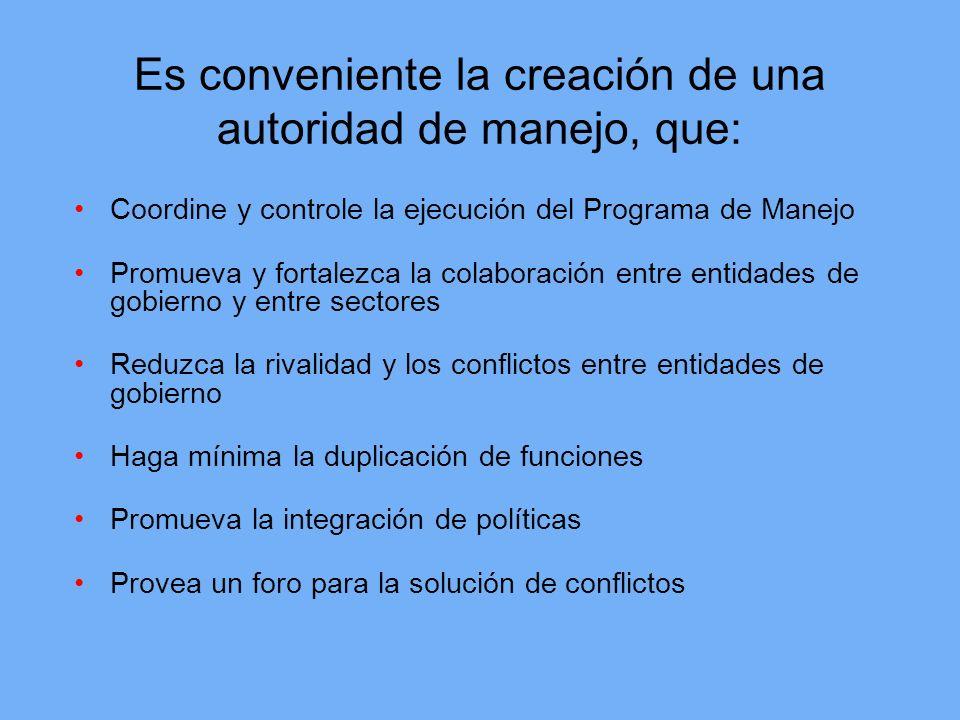 Es conveniente la creación de una autoridad de manejo, que: Coordine y controle la ejecución del Programa de Manejo Promueva y fortalezca la colaborac