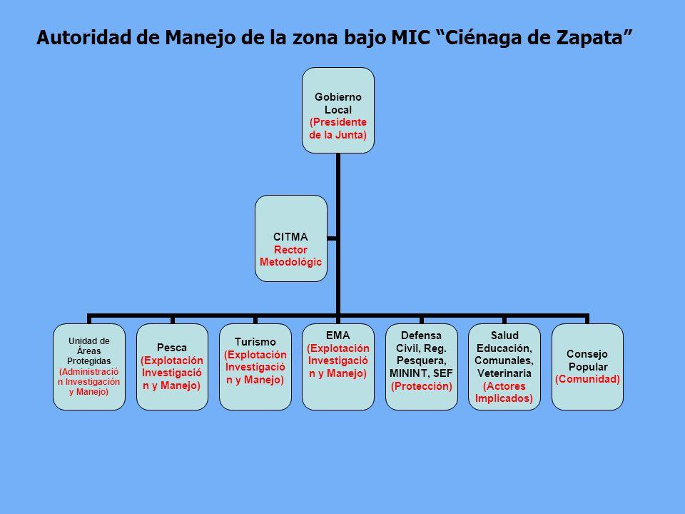 Autoridad de Manejo de la zona bajo MIC Ciénaga de Zapata Gobierno Local (Presidente de la Junta) Unidad de Áreas Protegidas (Administración Investiga