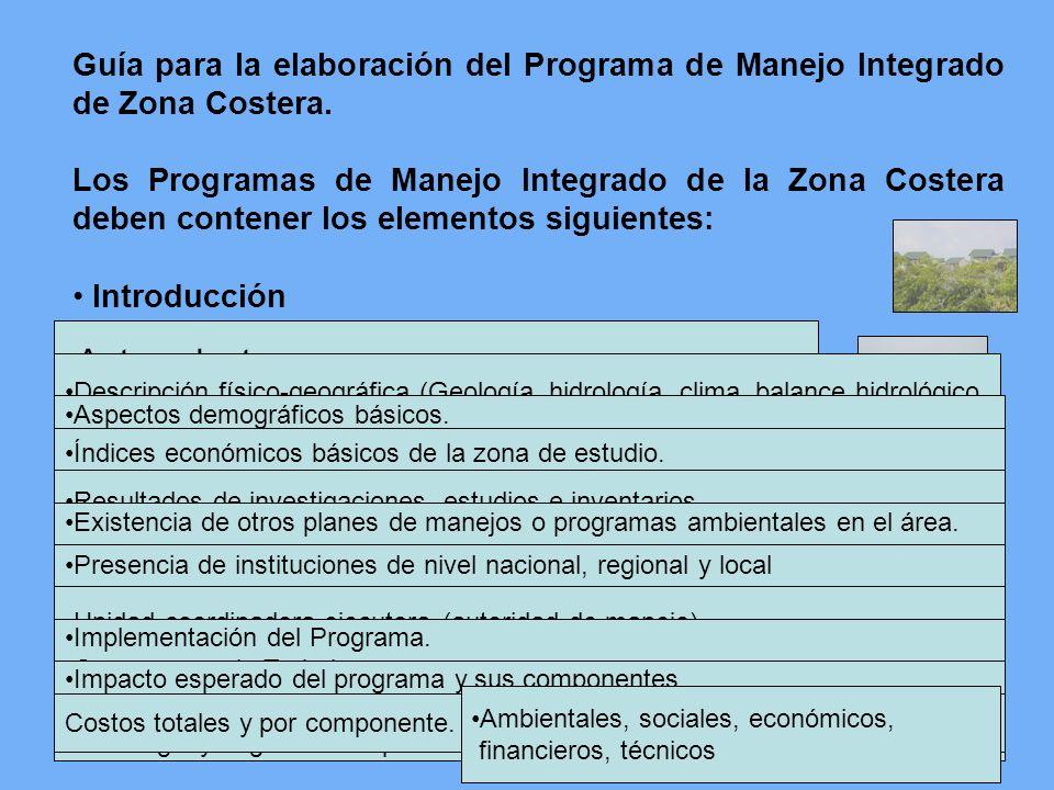 Guía para la elaboración del Programa de Manejo Integrado de Zona Costera. Los Programas de Manejo Integrado de la Zona Costera deben contener los ele