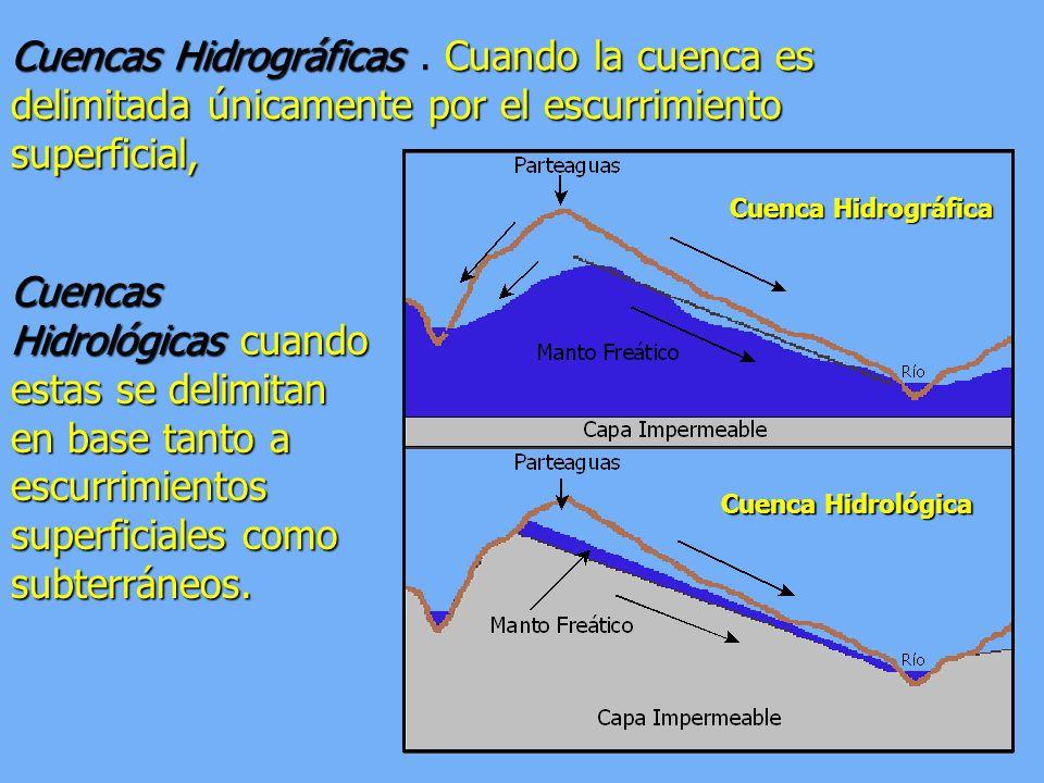 Cuencas HidrográficasCuando la cuenca es delimitada únicamente por el escurrimiento superficial, Cuencas Hidrográficas. Cuando la cuenca es delimitada