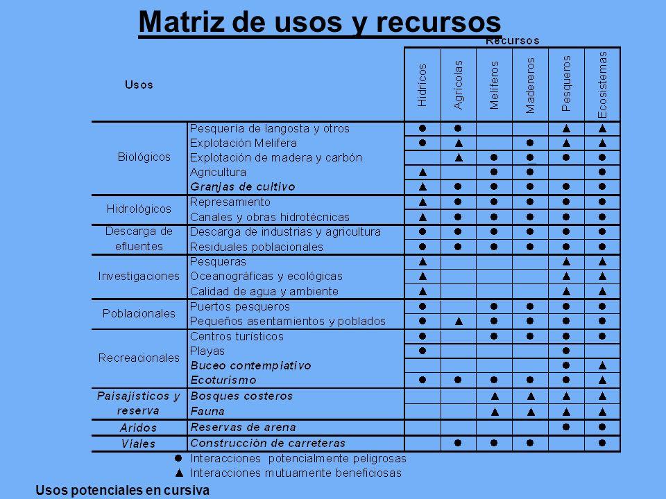 Matriz de usos y recursos Usos potenciales en cursiva