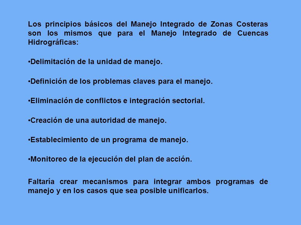 Los principios básicos del Manejo Integrado de Zonas Costeras son los mismos que para el Manejo Integrado de Cuencas Hidrográficas: Delimitación de la