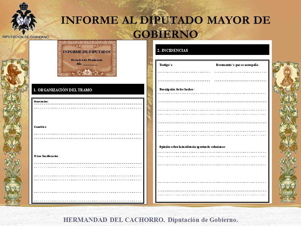 HERMANDAD DEL CACHORRO. Diputación de Gobierno. INFORME AL DIPUTADO MAYOR DE GOBIERNO