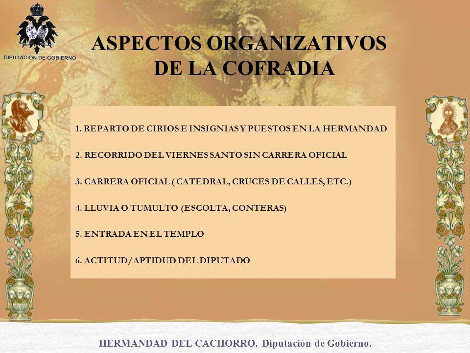 ASPECTOS ORGANIZATIVOS DE LA COFRADIA 1. REPARTO DE CIRIOS E INSIGNIAS Y PUESTOS EN LA HERMANDAD 2. RECORRIDO DEL VIERNES SANTO SIN CARRERA OFICIAL 3.
