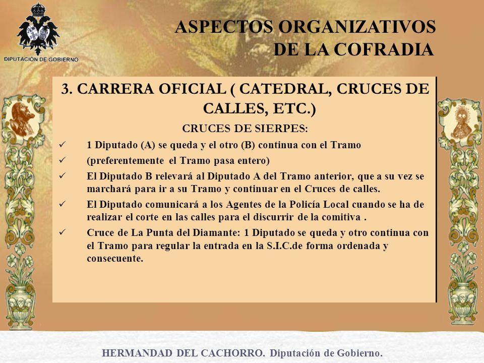 HERMANDAD DEL CACHORRO. Diputación de Gobierno. 3. CARRERA OFICIAL ( CATEDRAL, CRUCES DE CALLES, ETC.) CRUCES DE SIERPES: 1 Diputado (A) se queda y el