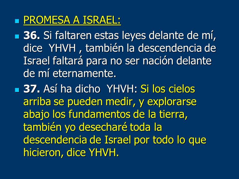 PROMESA A ISRAEL: PROMESA A ISRAEL: 36. Si faltaren estas leyes delante de mí, dice YHVH, también la descendencia de Israel faltará para no ser nación