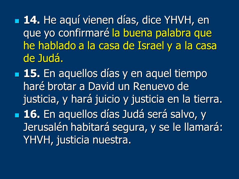 14. He aquí vienen días, dice YHVH, en que yo confirmaré la buena palabra que he hablado a la casa de Israel y a la casa de Judá. 14. He aquí vienen d